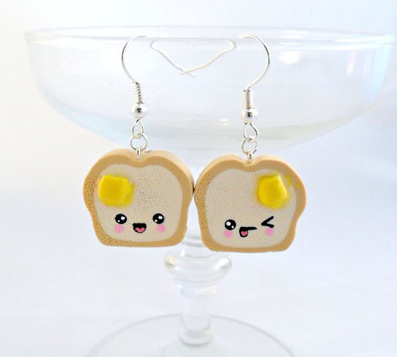 kawaii earrings | Kawaii Toast Earrings, with Melted Butter and Emotion Faces, Cute :)