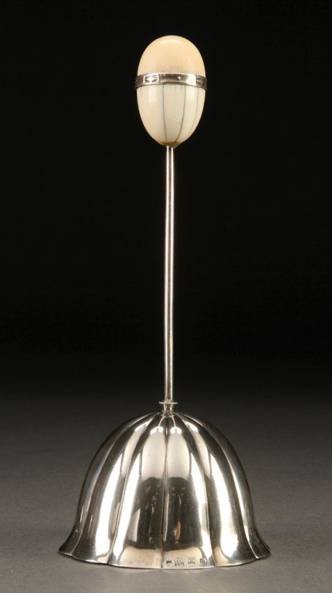 A RARE AND IMPORTANT JOSEF HOFFMANN FOR WIENER WERKSTÄTTE SILVER AND IVORY DINNER BELL, AUSTRIA, CIRCA 1913.