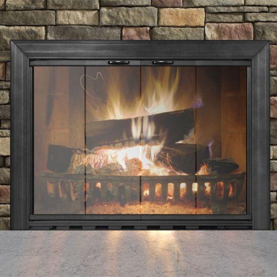Textured Black Savannah Masonry Fireplace Glass Door Fireplace Glass Doors Glass Fireplace Fireplace Doors