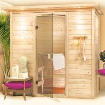 Sauna »Ronja« mit Dachkranz und Beleuchtung, Saunaofen mit eingebauter Steuerung