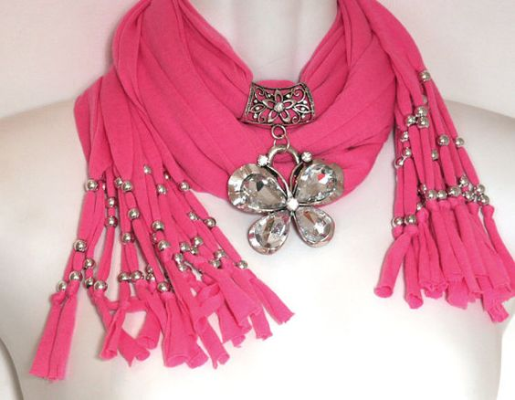 Candy Pink Scarf Jewelry Scarves With by RavensNestScarfJewel, $26.00: