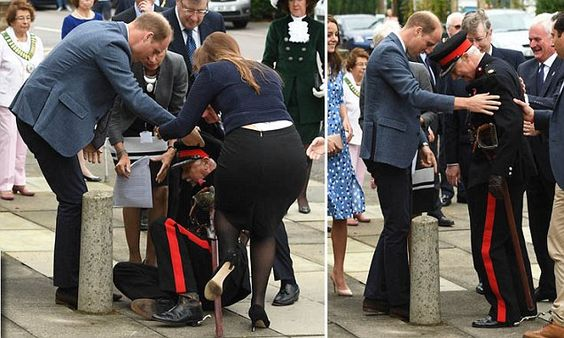 Prince William helps dignitary who fell over during a royal visit