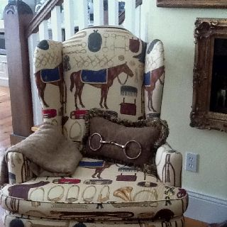 The pillow idea caught my eye. Vintage Ralph Lauren fabric on the chair.: