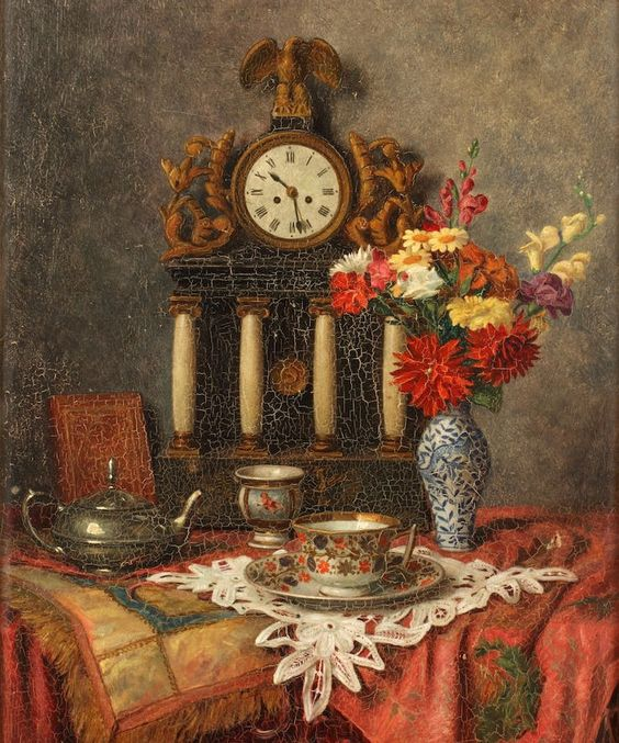 Franz Krischke (1885-1960) — Still Life with Fowers and a Clock  (737x885)