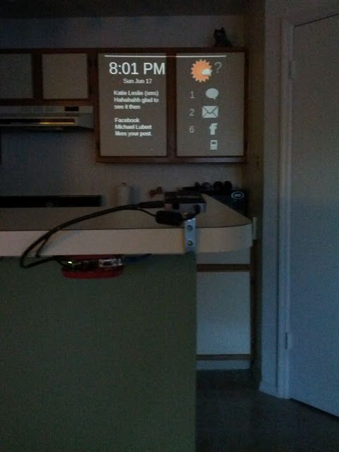 Cabinet Projector view of weather/new messages/apartment stats