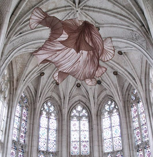 Peter Gentenaar's ethereal paper sculptures, hung inside the Abbey church of Saint-Riquier in France #papercraft