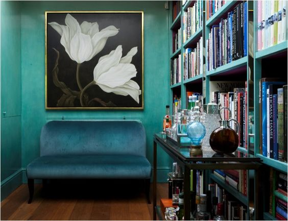 """Gorgeously designed nook. I could hang out here for hours on end. Image taken from """"A Curated Lifestyle"""" blog."""