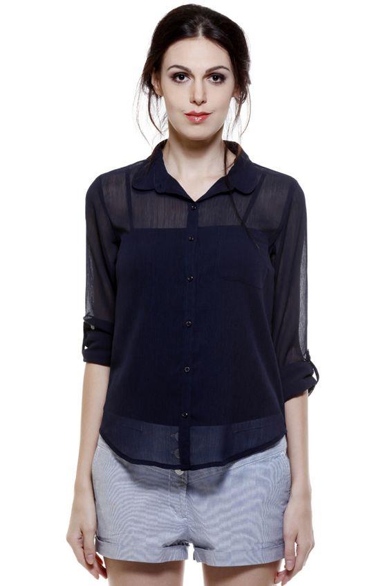 Fashion My Day : Navy Single Pocket Shirt