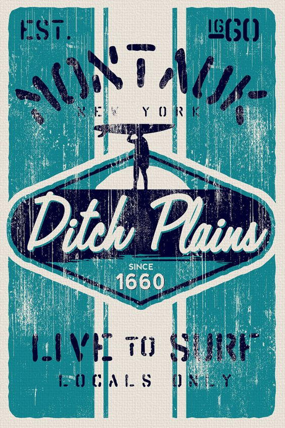"this is 100% original artwork vintage distressed retro surf poster ditch plains surf montauk new york hand screen printed 2 color design. ARTWORK SIZE IS 12""X18"" PRINTED ON HEAVY COLD PRESSED ARTBOARD (VERY THICK) $24.99"