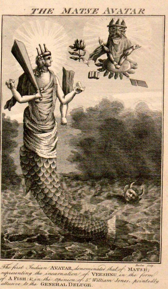 """Wood engraving from 1790's. """"The first Indian avatar, denominated that of Matse; representing the incarnation of Veeshnu in the form of a fish."""" Herman Melville in Moby Dick writes of  """"Vishnoo, who, by the first of his ten earthly incarnations, has for ever set apart and sanctified the whale"""" (Ch. 82).:"""