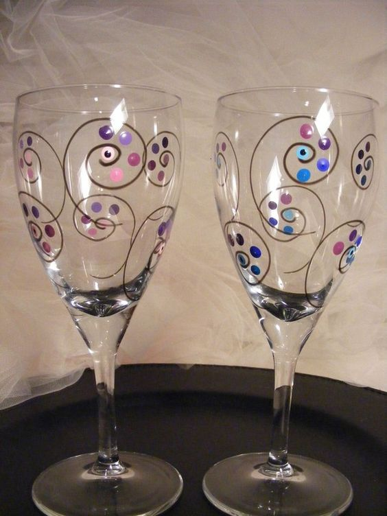 Painted wine glasses with polka dots and swirls and black for Spray painting wine glasses