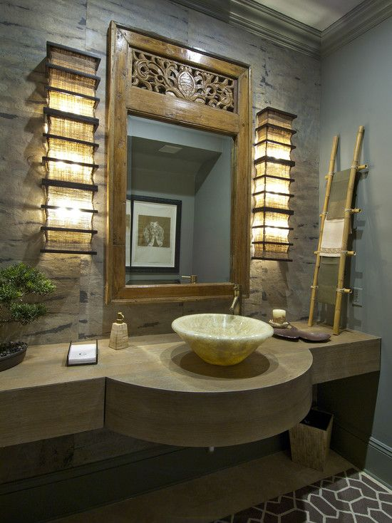Light fixtures small bathroom ideas pinterest for Bamboo bathroom decorating ideas
