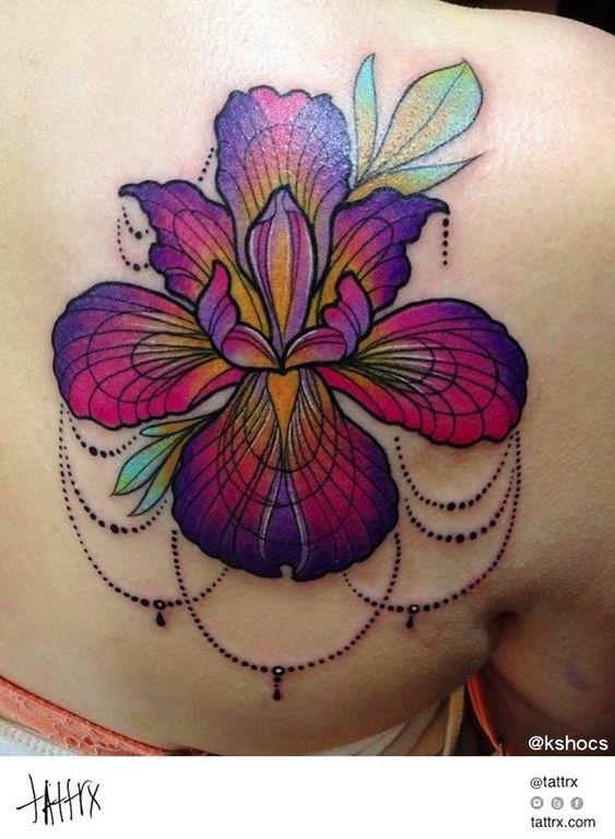 Kshocs Tattoo | Vancouver - Iris Flower for Karley tattrx.com/artists/kshocs