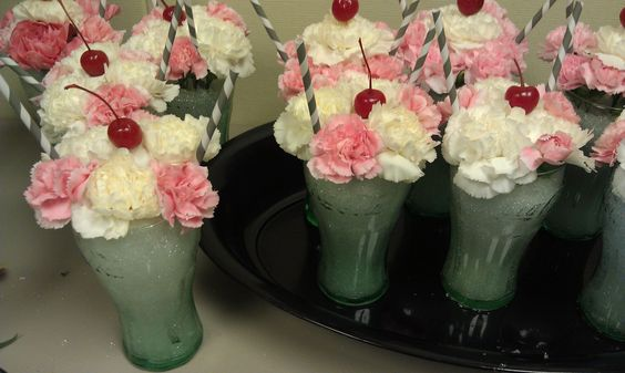 """""""Milkshake"""" centerpieces I did for a summer BBQ! Could be fun for a sock hop!"""
