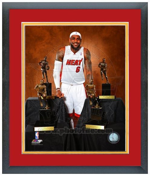 "11""x14"" Framed & Matted Lebron James With His 4 MVP Trophies-Studio Photo Pluses"