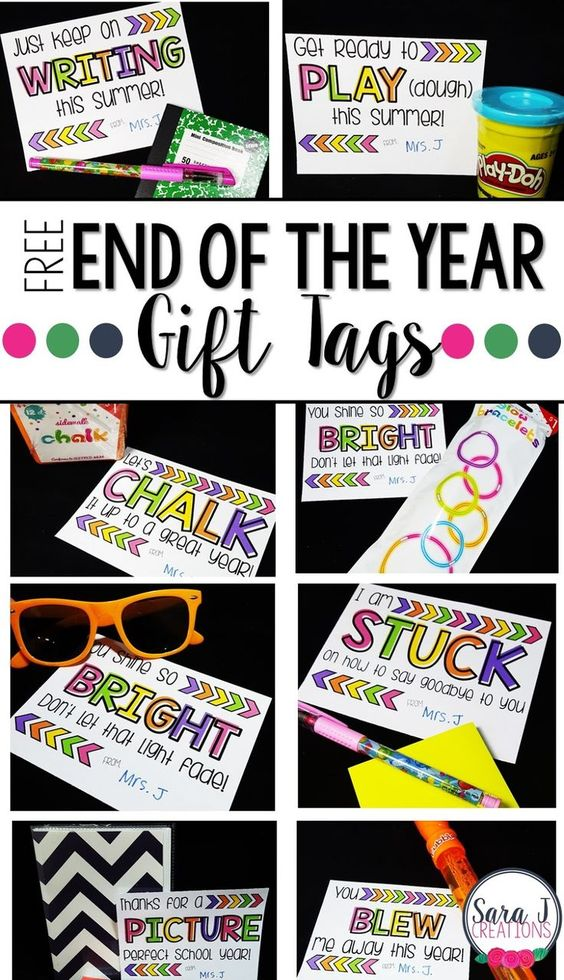 10 FREE Gift Tags for end of the school year student gifts and gift ideas that won't break the bank for the teacher.: