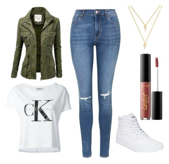 """Untitled #7"" by annekev on Polyvore featuring Topshop, Calvin Klein Jeans, Vans, tarte and BaubleBar"