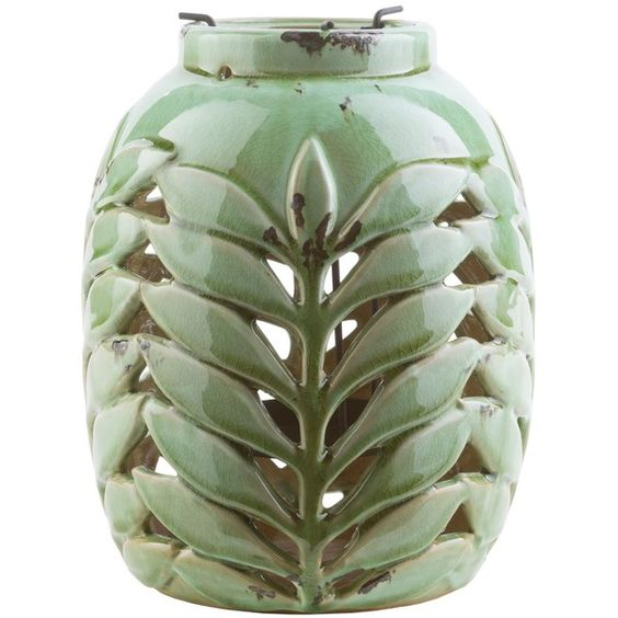 Surya Fern Ceramic Lantern (€30) ❤ liked on Polyvore featuring home, home decor, candles & candleholders, ceramic home decor, outside home decor, inspirational home decor, outdoor lanterns and ceramic lantern