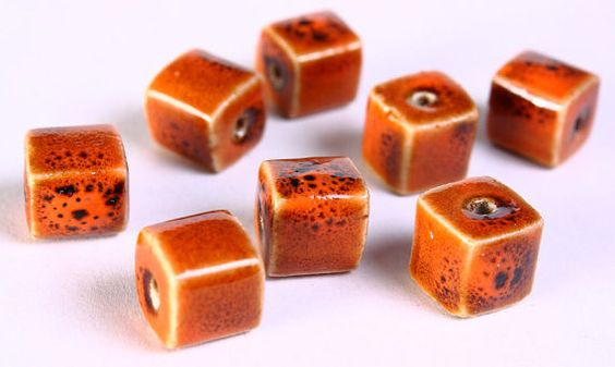 8 Orange brown handmade bright glazed porcelain bead cube 8pcs 10mm (673).