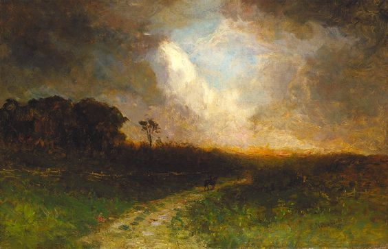 Untitled (landscape, man on horse) by Edward Mitchell Bannister