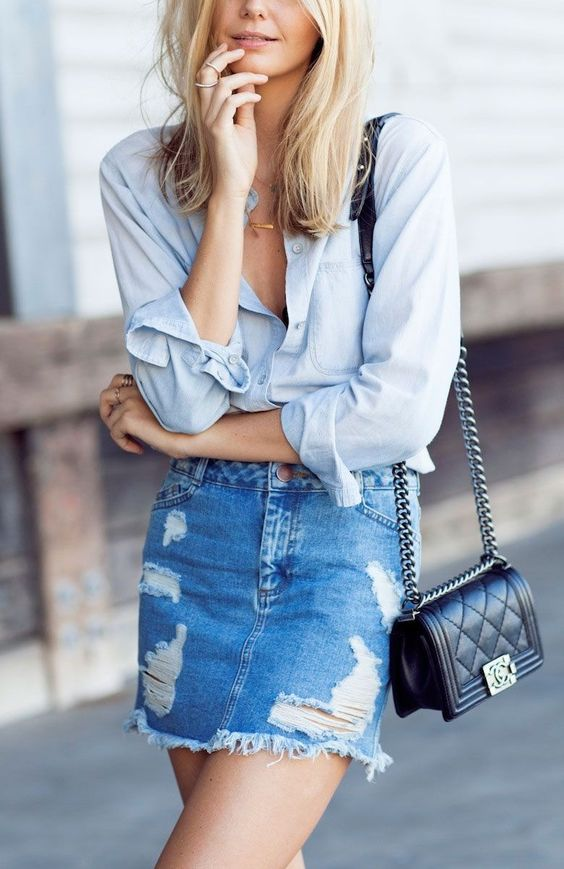 Minimal + Classic: chambray with worn denim skirt