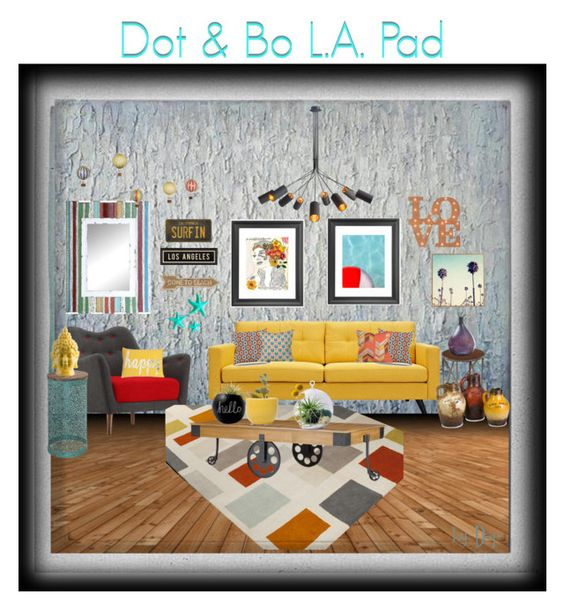 """""""Dot & Bo L.A. Pad"""" by dop37 ❤ liked on Polyvore featuring interior, interiors, interior design, home, home decor, interior decorating, Dot & Bo and Polaroid"""