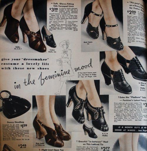 1938 Fashion Dresses Coats Hats Shoes 1938 Fashion Oxford Shoes Outfit Vintage Shoes
