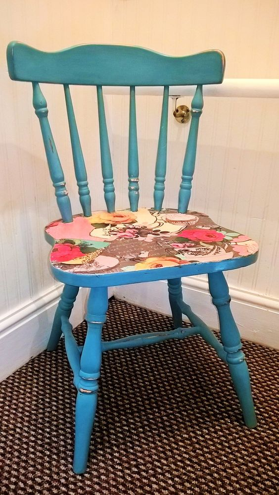 Shabby chic, blue chair with decoupage