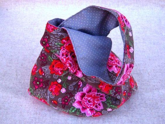 """Projektbeutel, Knotentasche """"Blumen"""" pink Tasche von frostpfoetchen auf DaWanda.com"""