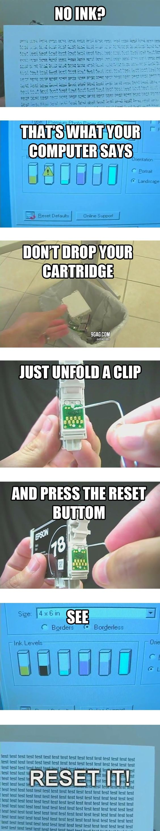 How to get the last ink out of the ink cartridge.
