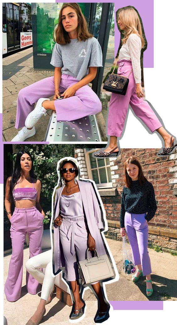 O lilás é a cor perfeita para deixar o look descolado na medida. Use com sneakers brancos e sandálias de salto baixo!calca - lilas - looks - trendy - now