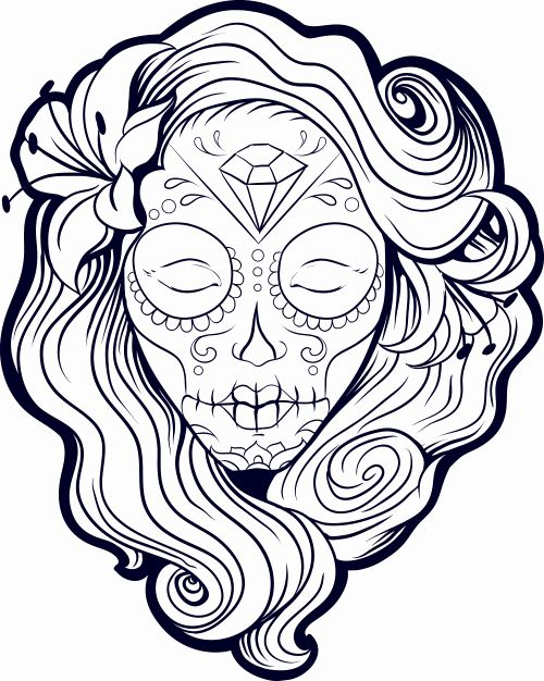 Sugar Skull Coloring Page Inspirational Sugar Skull Coloring Pages Best Coloring Pages For Kids Skull Coloring Pages Coloring Pages Coloring Pages For Girls