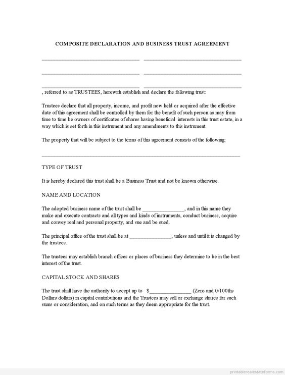 Sample Printable Business Trust Agreement Form  Printable Real