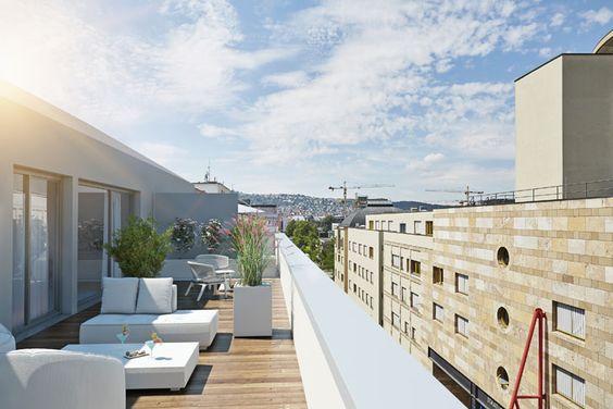 Ein herrliches Penthaus mit zwei Dachterrassen - nur eins der Vorzüge des Neubauprojekt's URBAN LIVING der Wüstenrot Haus- und Städtebau GmbH.