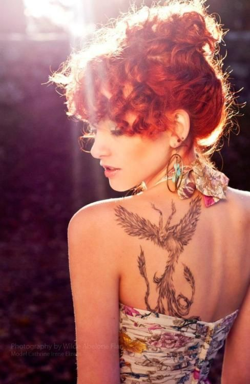 "Phoenix. Tattoos, Red hair, Red, Redhead, Red Head, Copper, Copper Top, Ginger, Carrot, Carrot Top, freckles, natural, mysterious, ""Fire"", boudoir"