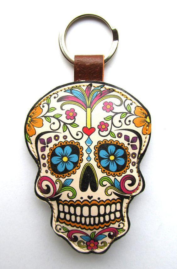 Leather keychain / bag charm  Sugar Skull by corrietovi