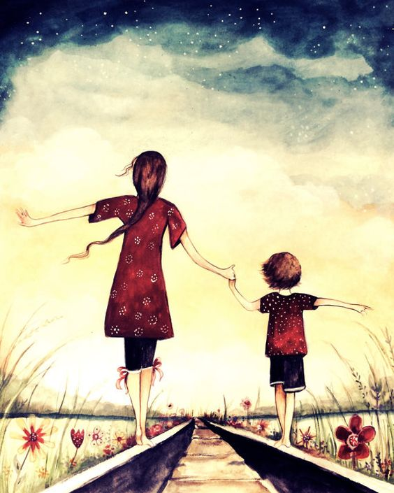 "Mother and son ""our path"" art print, gift idea mother's day:"