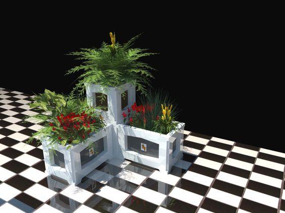 Combinación de jardineras alta y baja de la línea NOA. Combinado entre lacados color. Inalterables y resistentes a los agentes climáticos.
