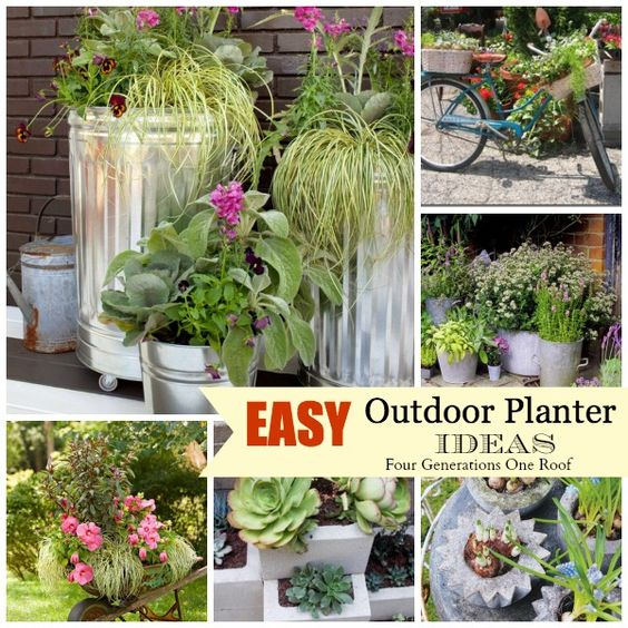 Easy creative outdoor planters something new creative for Easy to care for flowers outdoor
