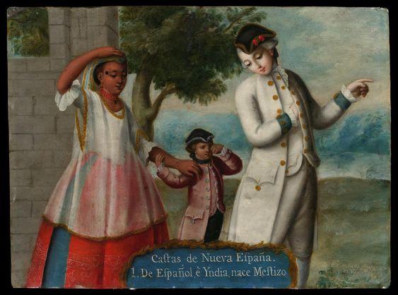 Castas de Nueva España (Касты Новой Испании) / 1. De Español e Yndia, nace Mestizo (От испанца и индейца родился Mestizo) | Музей изобразительных искусств, Бостон