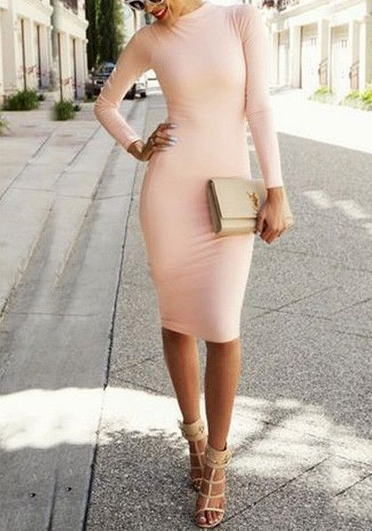 Flaunt your body in a gorgeous fitted frock like this light pink bodycon midi dress. It features a mock neckline and long sleeves detailing for a warmer yet sexy feel. | Lookbook Store Dress
