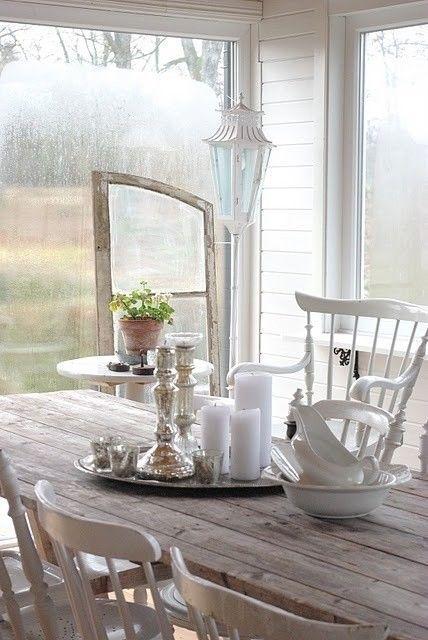 Farmhouse Cottage Style | Wood - Mercury Glass - Farm Table