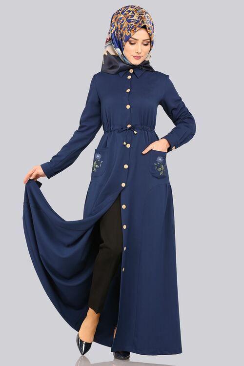Modaselvim Elbise Cebi Nakisli Elbise Ferace 5081ay342 Indigo Abayas Fashion Clothes Fashion