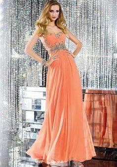 Chiffon Sheath/ Column Sweetheart Empire Floor Length Prom Gowns - Lunadress.co.uk