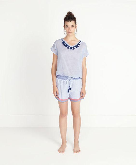 Shorts pompon riga stampata - OYSHO