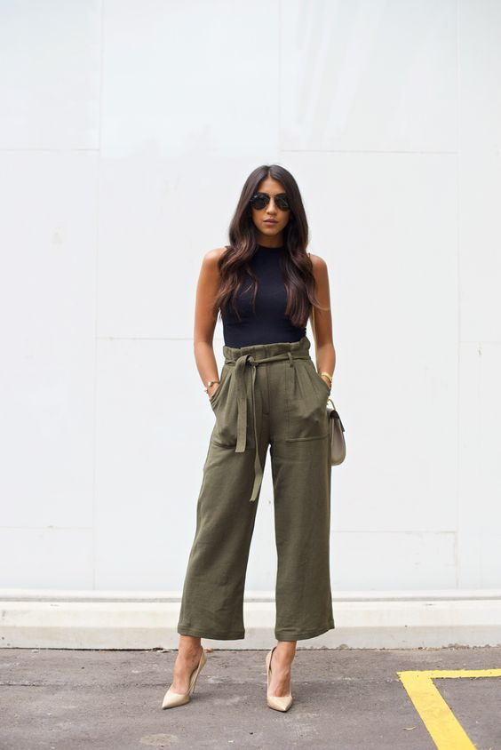Not Your Standard - Black Tank + Nude Pumps + Khaki Pants