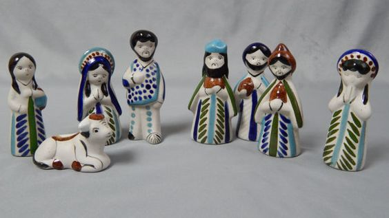 Vintage Mexican Pottery Nativity Figures Creche by SlyfieldandSime, $48.00