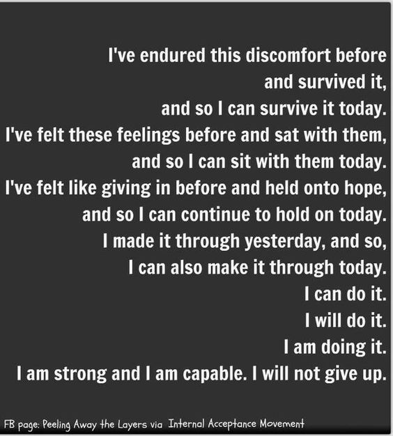 I can do it. I will do it. I am doing it.