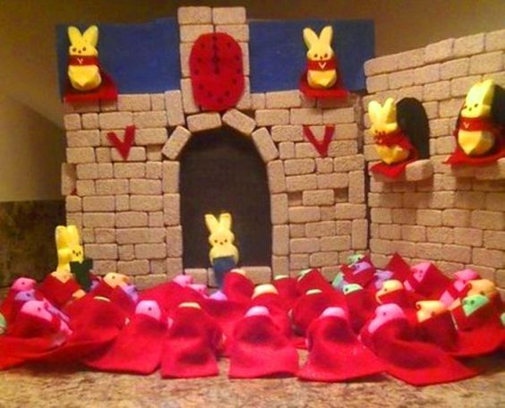 2010 Contest The Peeplight Saga: Race Through Volterra   Photo posted by: Connie Radziewicz   This diorama depicts a scene in The Twilight Saga: New Moon. Bella is racing to save Edward before he steps into the sunlight while the Volturi watch on.