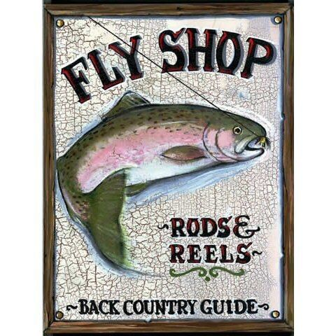 Custom Fly Shop Rods And Reels Vintage Style Wooden Sign Fly Shop Custom Flies Fly Fishing Shop